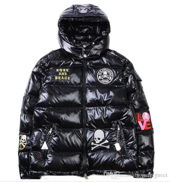 Новые мужские пуховики Parka Anorak Черепа яркие шелковые пальто мужчины женщины thicked моды с капюшоном вниз пальто ветрозащитный Снег Outwear одежды