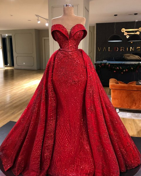 Prom Dresses sexy paillettes rosso della sirena del merletto con il treno staccabile innamorato elegante abito di sera lungo più il vestito partito convenzionale