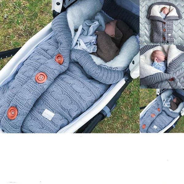 2019 Bebek Düğmesi Uyku Tulumu Bebek Açık Bebek Arabası Uyku Tulumu Yün Örgü Artı Kadife Kalın Sıcak