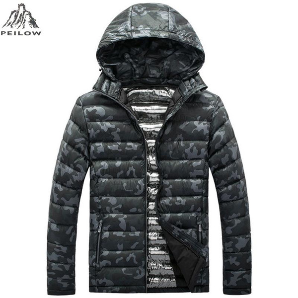 PEILOW Winter Jackets men Brand Casual Mens Jackets And Coats military camouflage light cotton Parka Men Clothing size L~4XL 5XL
