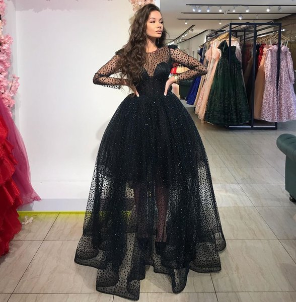 Stylish Sequined Long Sleeves Prom Dresses Sheer Jewel Neck A Line Formal  Dress Plus Size Tulle Floor Length Evening Gowns Gigi Prom Dresses Make  Your ...