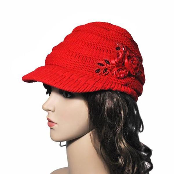 Moda Kış Kadın Yün İplik Düz Dokuma Örme Pullarda Çiçek Siperlik Şapka