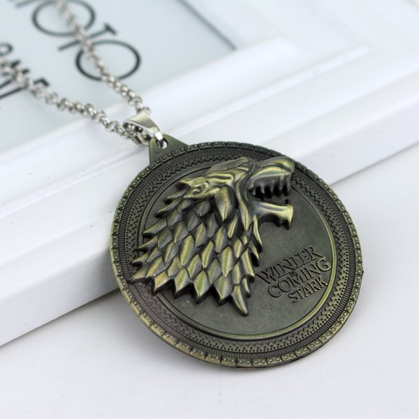 100pcs Game of Thrones necklace House Stark Winter Is Coming Metal Family Crest pendant jewelry souvenirs gift Maxi Wolf Punk Men