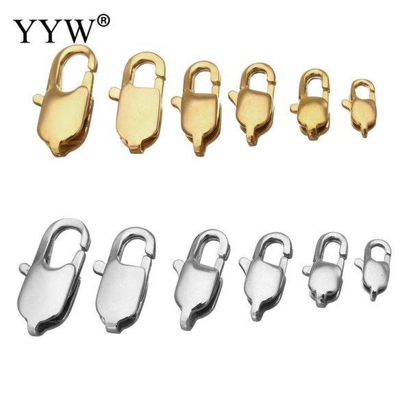 100 pcs Stainless Steel Lobster Claw Clasp Gold Color Different Sizes Jewelry Accessories Fit for Bracelet Necklace DIY