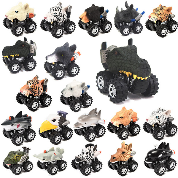 best selling 23 Styles Animals shaped pull-back vehicles 5x6x7cm kids pull back cartoon cars toys bears dinosaurs ocean animals plastic wind up car toys