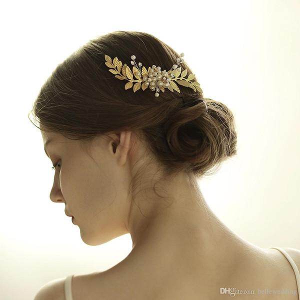 Vintage Wedding Headpieces Hair Accessories Pearls Rhinestones Golden Silver Leaf Bridal Hair Comb Women Hair JewelryBW-HP842