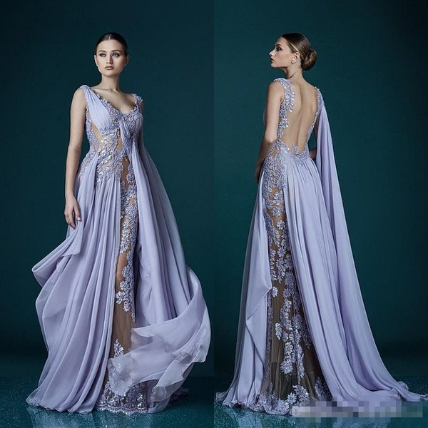 Deep V-neck Lavender Evening Dresses With Wrap Appliques Sheer Backless Celebrity Dress Evening Gowns 2018 Stunning Chiffon Long Prom Dress