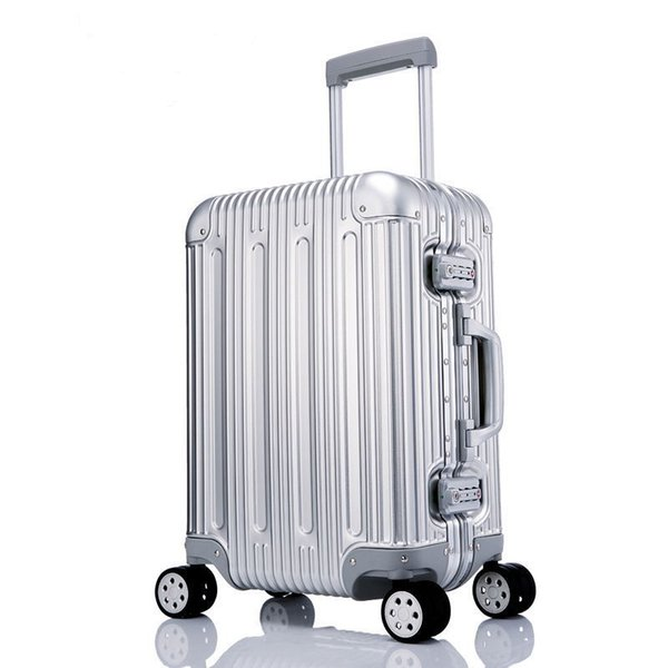 100% metal Equipaje Aleación de aluminio Equipaje rodante Equipaje Maleta Bolsa de alta resistencia TSA Desbloquee plata 20 pulgadas