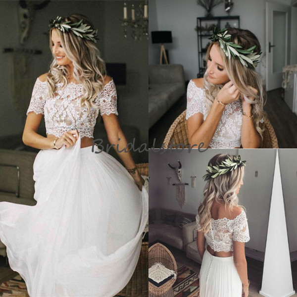 Modest Two Piece Wedding Dresses Boho Crop Top Lace Bateau Neckline Chiffon Country Wedding Dress Short Sleeve Button Back Cheap Bridal Gown