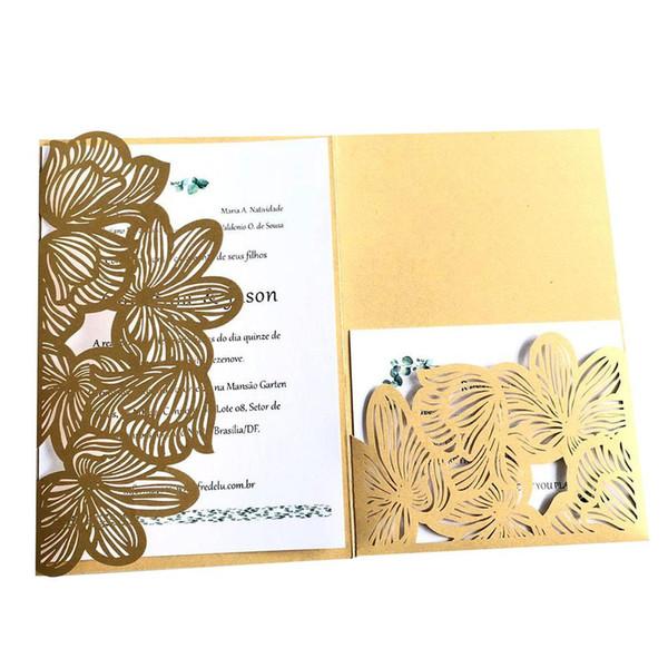 Compre 10 Piezas De Tarjeta De Invitación De Bolsillo Tipo Hueca De Gama Alta Carta De Invitación De Reunión De Negocios Tarjeta De Invitaciones De