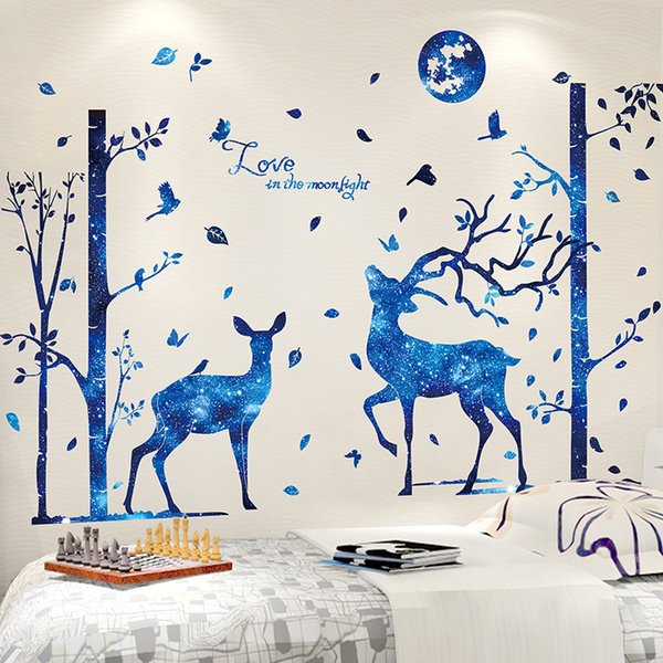 1 Pcs Blue Moon Deer Trees Wall Stickers PVC Material DIY Cartoon Mural Decals for Kids Room Baby Bedroom Decoration