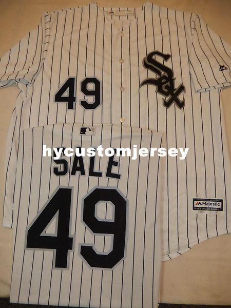 Barato personalizado MAJESTIC MENS Chicago # 49 CHRIS VENDA Baseball Cool Base JERSEY Mens costurado jerseys TAMANHO Grande E Alto XS-6XL Para venda