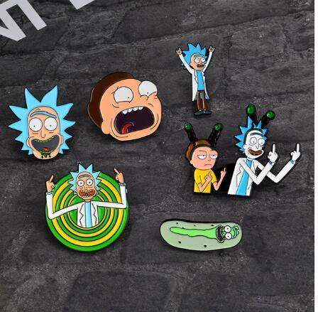 Rick And Morty Smalto Pin Rick e Moti Pins Buckle Cucumber Cartoon Spilla Distintivo Giacca di jeans Cappotto Spille tasca Gioielli Regalo