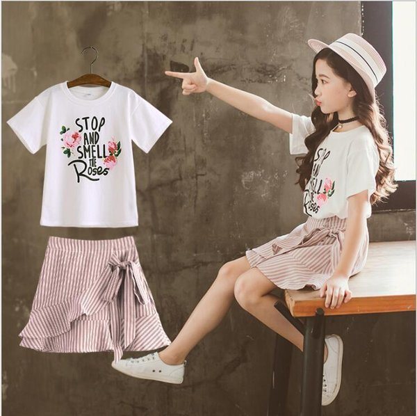 summer new kids dresses for girls T shirt+dress 2pcs children girl clothes 4-14 teenage girls clothing set 9 style
