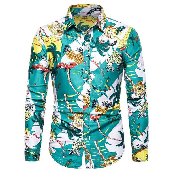 New Trendy Shirt Men Plaid Printed Long Sleeve Casual Shirts Male Print Blouse Man Dress Slim Fit Shirt Men May9