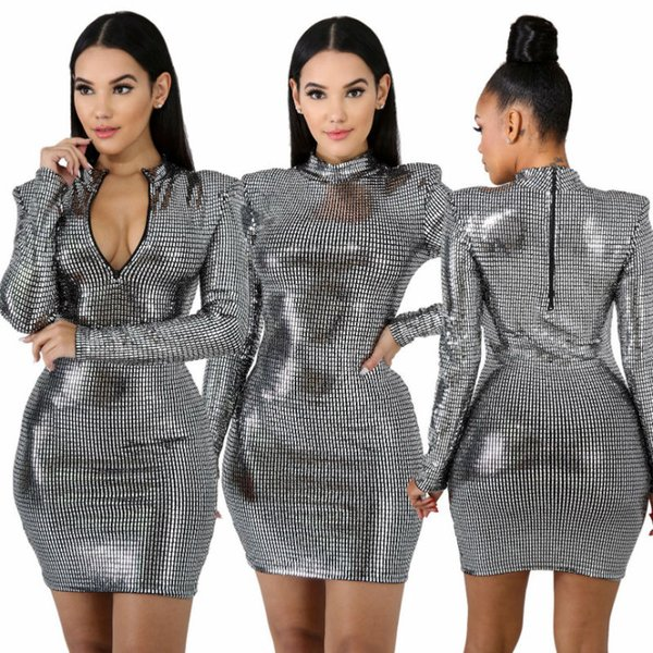 2019 Fashion New Sexy Deep V-Neck Fashion Two Sides Wear Celebrity Evening Club Dresses Sexy Autumn Dresses Long Sleeve Silver Women Dress