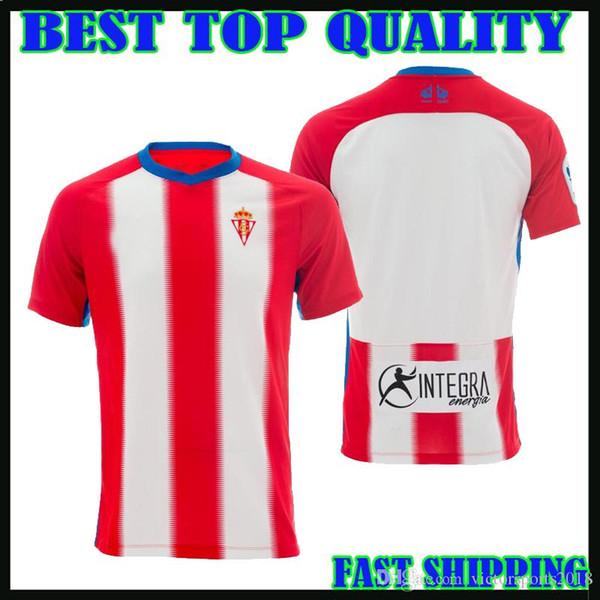 2018 2019 Sporting Gijon camisa de futebol em casa branco vermelho 18 19 Carmona Michael Santos Álvaro Uros Djurdjevic Ruben Garcia camisas de futebol