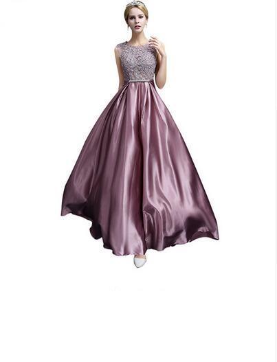 Long Evening Dress 2019 New Luxury Lace Satin Banquet Formal Dress Plus Size Bridal Elegant Prom Dresses Robe de Soiree 496
