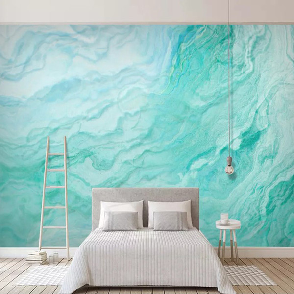 Abstract Art Wallpaper Mint Green Marbling Mural Custom 3d Wallpapers Large Wall Covering Kids Bedroom Living Room Hotel Art Studio Decor Wallpapers