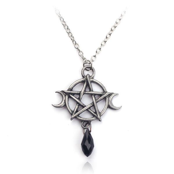Soprannaturale Pentagram Collana Luna Ciondolo in cristallo nero Strega protezione Amuleto per le donne Accessori regalo gioielli di fascino