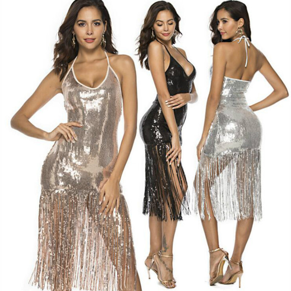 Women 1920s Flapper Vintage Dress Art Deco Great Gatsby Dress Vestidos V-Neck Sleeveless Sequin Tassels Dress Sexy Club Night Party Dresses