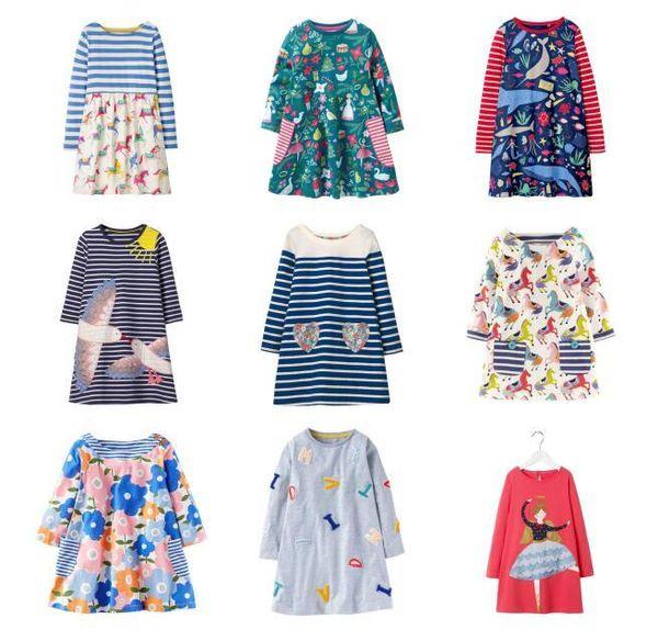 Kızlar Unicorn Aplike Prenses Elbise Çocuklar Rahat Longsleeve Karikatür Elbiseler Çocuklar için Nefes Yumuşak A-line Parti Elbise Giysileri