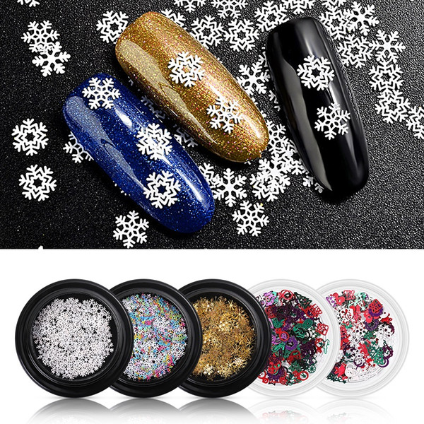 best selling NA041 5 Styles Winter Christmas Snowflake Nail Sequins Gold Metal Glitter Nail Tips Manicure Snow Flower Decoration stickers Accessories