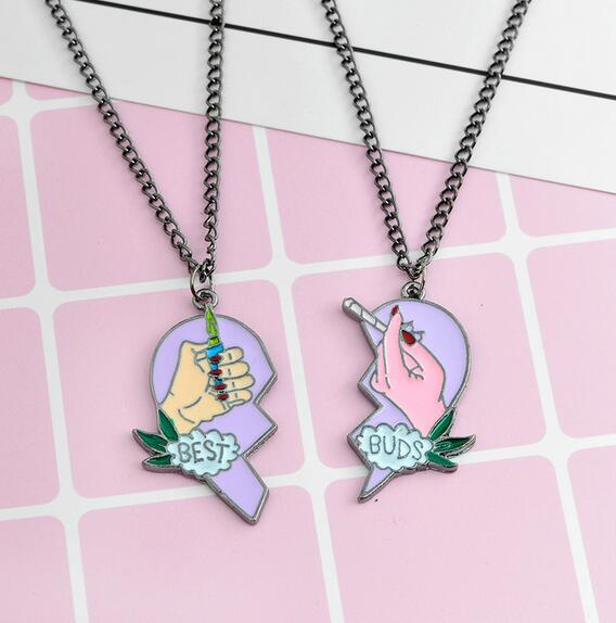 The New Jewelry Best Friend Necklace Best Cigarette & Lighter Heart Puzzle Necklace BFF Jewelry BFF Necklace
