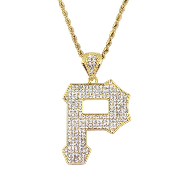 hip hop Letter P diamonds pendant necklaces for men alloy Capital luxury necklace Stainless steel Cuban chains lover jewelry free shipping