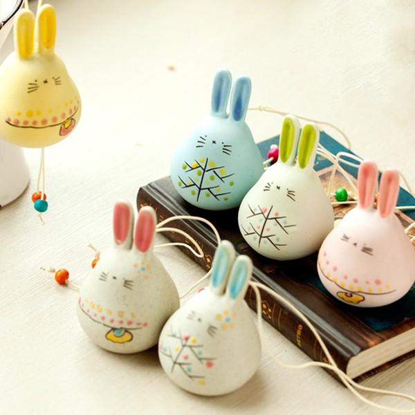 Keramik-Anhänger mit Glocke Windzargen Innen aussetzt Auto Ornament niedlichen Kaninchen zu Hause dekorative Figuren multi Farben Windbell