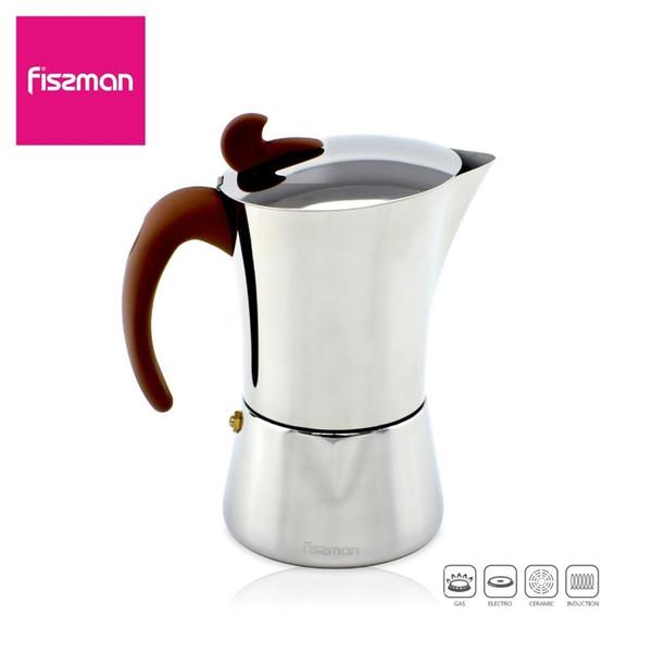 Fissman Acciaio inossidabile Latte Mocha Pot Stove Espresso Maker Tool Facile da pulire Per Home Office Caffè 260ml 360ml 540ml Q190604