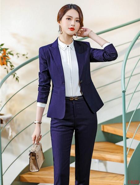 Hochwertige Faser Formale Lila Blazer Frauen Hose Anzüge Damen Arbeitskleidung Business Sets Büro Uniform Styles