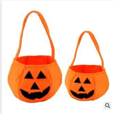 Halloween Pumpkin Candy Bag Trick or Treat Cute Smile Basket Face Children Gift Handhold Pouch Tote Bag Pail Props Decoration Toy