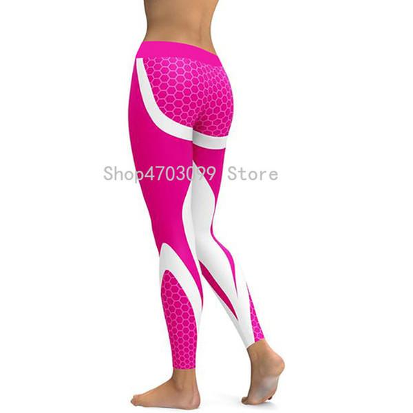 Kadınlar Için örgü Desen Baskı Tayt spor Tayt Sporting Egzersiz Leggins Elastik Ince Siyah Beyaz Pantolon