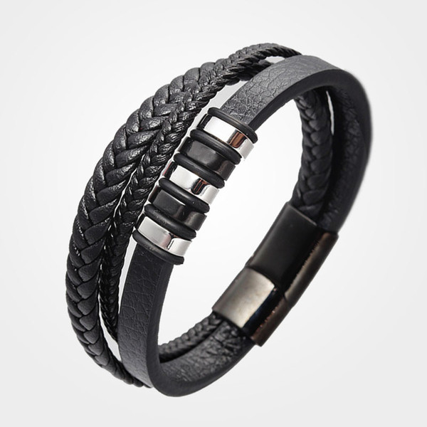2019Man Multilayer Braided Leather Bracelet Stainless Steel for men Magnetic Clasp Bangles Fashion Punk Male pulseras hombre