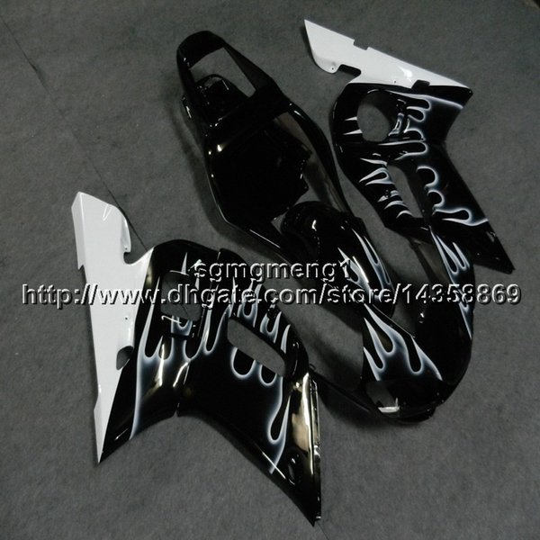 Botls+Gifts silver flames motorcycle cover for Yamaha YZF-R6 1998 1999 2000 2001 2002 ABS Plastic motor Fairing