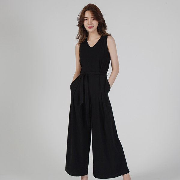 2019 femmes été longue combinaison casual solide sans manches ceinturée bureau dame barboteuses jambes larges pantalons pantalons streewear Combishorts