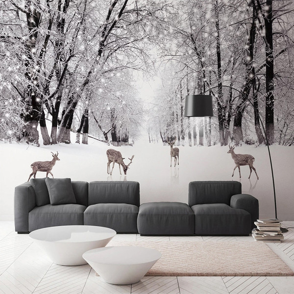 Custom Photo Wall Paper Tree Forest Deer Snow Scenery Large Mural 3d Living Room Bedroom Study Room Background Art Wall Painting Pictures Wallpaper