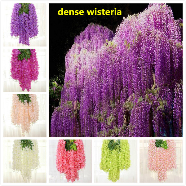 best selling 8 colors dense wisteria flower artificial silk flower vine 110cm elegant wisteria vine rattan for garden home wedding decoration