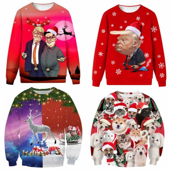 Adulte unisexe 3D de Noël Donald Trump truand Noël Cartoon Automne Hiver Hoodie drôle cadeau des femmes des hommes cosplay costume adultes