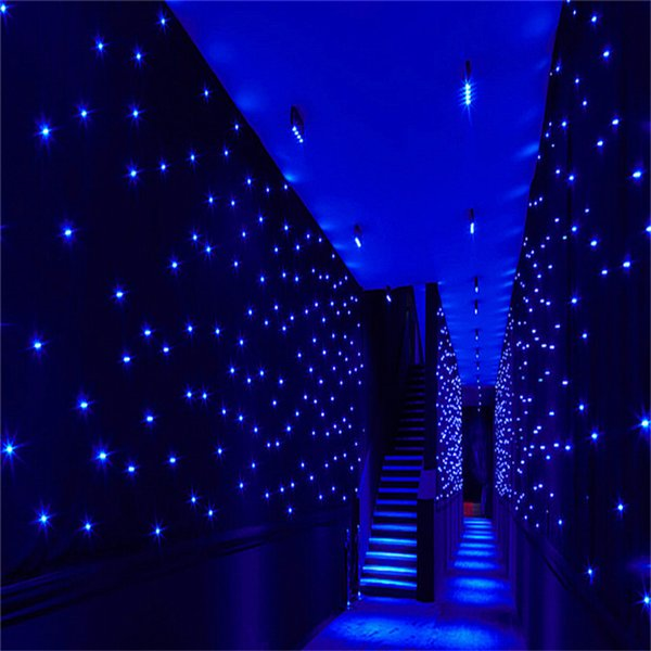 Luxury 4X 8 Meters Blue-White Color LED Star Curtain Wedding Stage Backdrop Cloth For Wedding Party Dance Decoration
