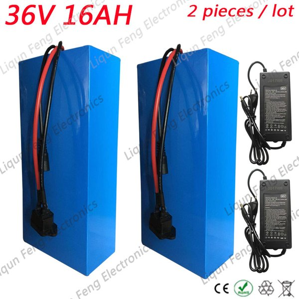 2pcs/lot wholesale 36V 16AH 800W EBike Lithium Battery with charger 20A BMS Electric Scooter Battery 36V Electric Bike Battery