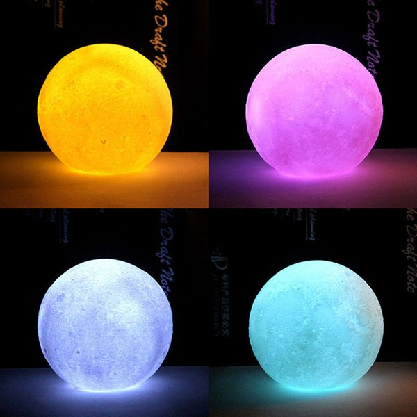 1 Pcs LED Moon Table Night Lamp 3D Portable Gift for Home Bedside Desk Bedroom CLH@8