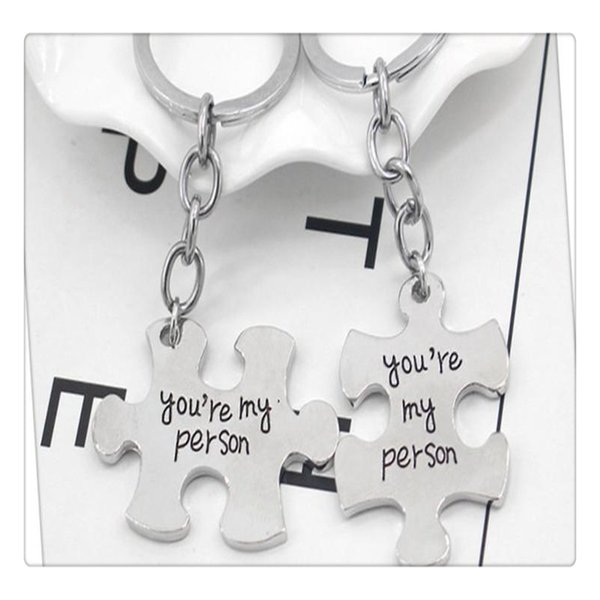 Set Puzzle Toys You Are My Person Couple Keychain Toy Accessories For Lovers Ring Holder Best Friends Gifts For Kids