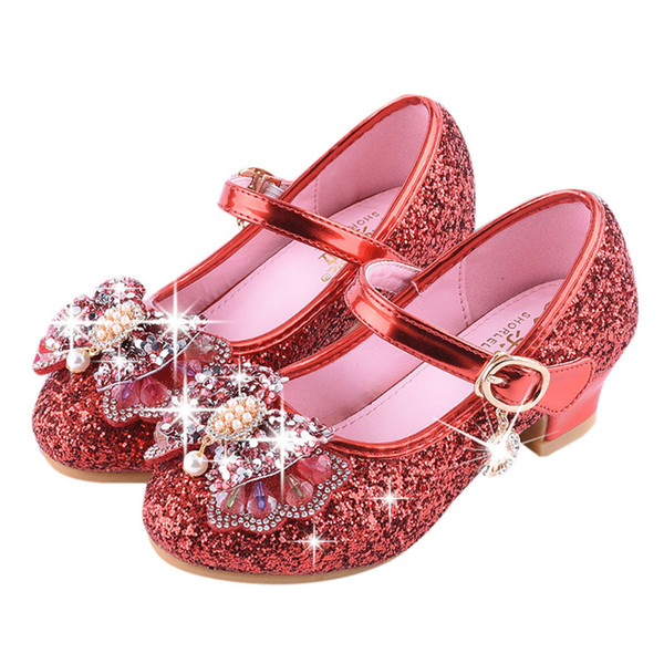 VT01 Bébés Filles Cristal De Perles Bling Bowknot Chaussures Simples Menina Fille Princesse Chaussures