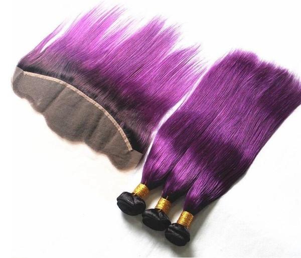 Ucuz Brezilyalı Düz Saç Demetleri 3 ADET Remy İnsan Saç Satışa Frontal ile Düz Ombre Mor renk Paket