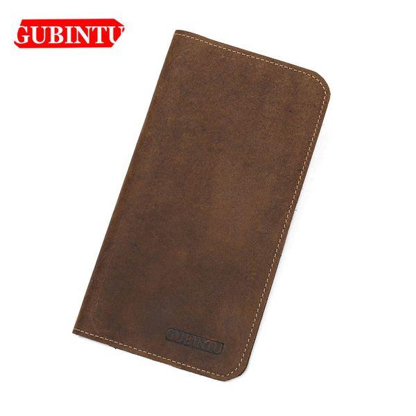 GUBINTU Thin Geniune Long Cow Leather Men Wallets Card Holder Phone Pocket Wallets Vintage High Quality Brand Male