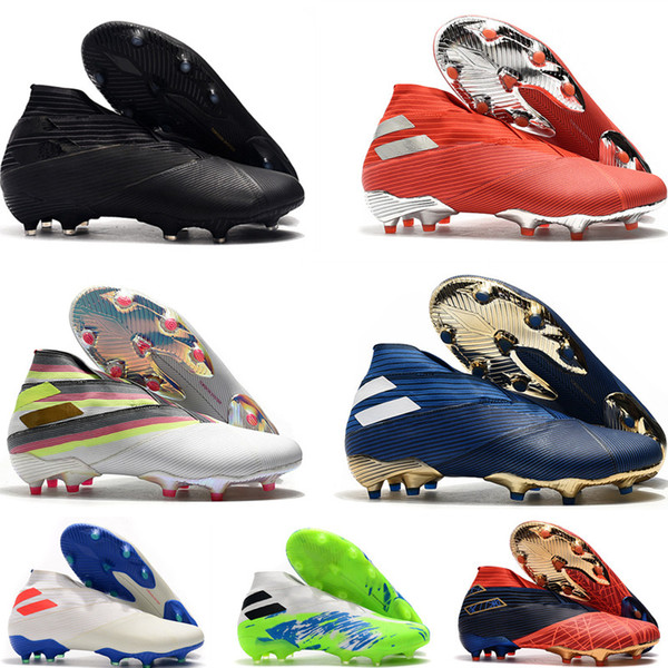 best selling Laceless Messi Nemeziz 19+ FG Mens Youth Junior Football Boots Active Red Chrome Waterproof Shoes soccer cleats Firm Ground High Top