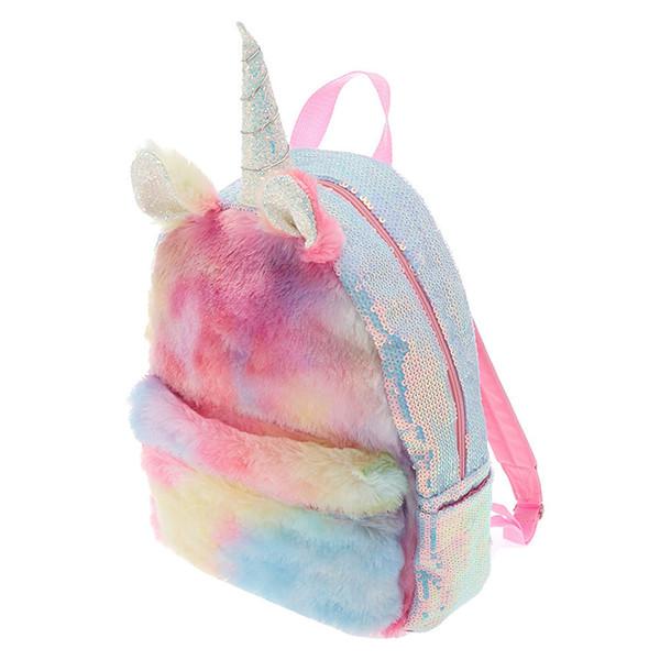 Colorful Fur Unicorn Students Backpack Mermaid Sequins Children School Bags Mini Backpack for Teenager Girls Book Bag