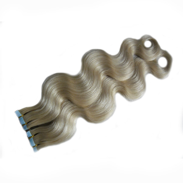 #60 Platinum Blonde brazilian body wave hair 100g pu skin weft tape hair extensions 40pcs tape in human hair extensions cheap free shipping